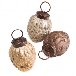 Glass Pinecone Shape Hanging Decoration - Set of 6
