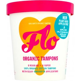 FLO Organic Eco-Applicator Tampons Regular & Super Combo Pack - Pack of 14