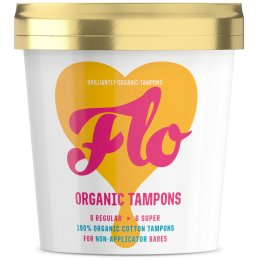 FLO Organic Non-Applicator Tampons Regular & Super Combo Pack - Pack of 16