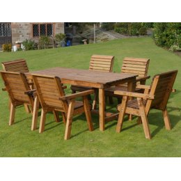 Large Six Seater Wooden Garden Patio Set - 6 Chairs