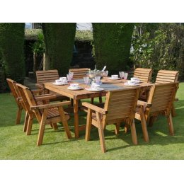 Eight Seater Wooden Garden Patio Set - 8 Chairs