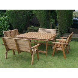 Eight Seater Wooden Garden Patio Set - 3 Benches & 2 Chairs