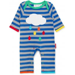 Toby Tiger Organic Striped Raincloud Sleepsuit