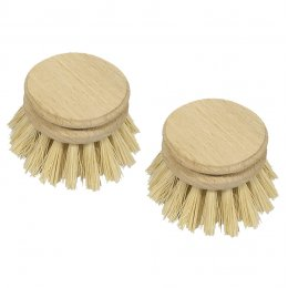 Eddingtons Valet Plant Fibre Traditional Dish Brush Replacement Heads - Pack of 2