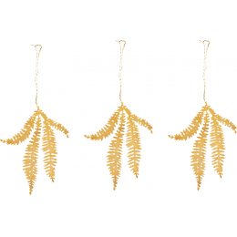 Tabwa Fern Sprig Brass Decorations - Set of 3