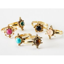 Adjustable Ring with Semi-Precious Stone - Assorted Designs