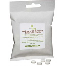 ecoLiving Toothpaste Tablets with Fluoride Refill Bag - 125 Tablets