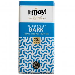 Enjoy 70 percent  Dark Vegan Chocolate Bar - 70g
