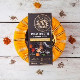 Indian Spice Gift Tin with Sari Wrap