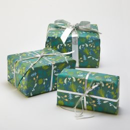 Recycled Wrapping Paper & Tags - Green Mistletoe - Pack of 4