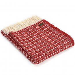Pure New Wool Cobweave Throw - Red