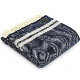 Pure New Wool Fishbone Throw - Navy & Silver
