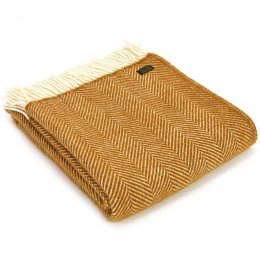 Pure New Wool Fishbone Throw - Mustard