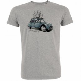 Green Bomb Bike Road Tripping T-Shirt - Heather Grey