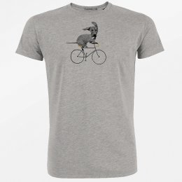 Green Bomb Bike Sausage Dog T-Shirt - Heather Grey