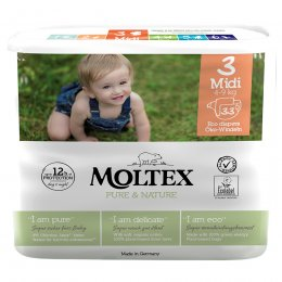 Moltex Pure & Nature Disposable Nappies - Midi - Size 3 - Pack of 33