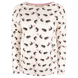 People Tree Cat Print Long Sleeve Pyjama Top