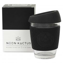 Neon Kactus Reusable Glass Cup - Black - 340ml