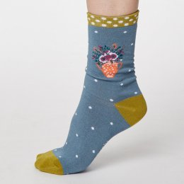 Thought Sea Blue Flora Bamboo Socks - UK 4-7