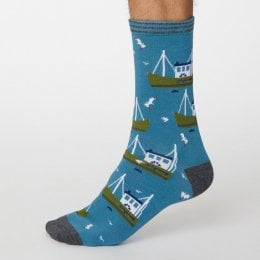 Thought Dusty Blue Pesca Bamboo Socks - UK7-11