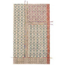 Blockprint Tribal Indian Rug with Embroidery - 90 x 150cm