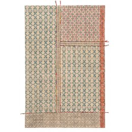 Blockprint Tribal Indian Rug with Embroidery - 120 x 180cm