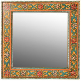 Hand Painted Square Wooden Wall Mirror - 45 x 45cm