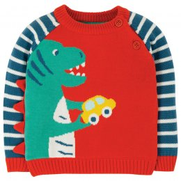Frugi Koi Red Dino Wilfred Knitted Jumper
