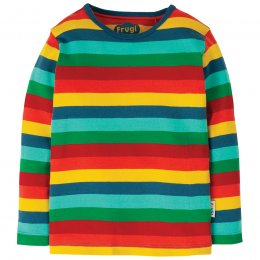 Frugi Steely Blue Multi Stripe Favourite Long Sleeve Tee