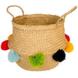 Large Seagrass Basket with Multi Pom Poms