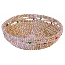 Seagrass Basket with Multi Colour Wood Beads