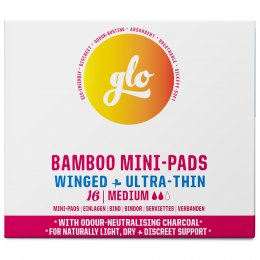 GLO Bamboo Mini-Pads with Wings for Sensitive Bladder - 16 pads