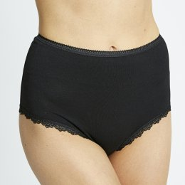 People Tree Organic Cotton High Waist Lace Briefs - Black