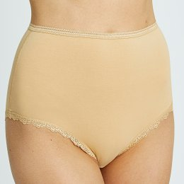People Tree Organic Cotton High Waist Lace Briefs - Almond