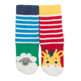Kite Elephant & Sheep Grippy Socks - 2 Pairs