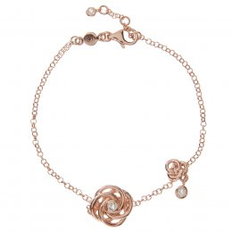 Kashka London Joy Sterling Silver Rose Gold Vermeil Bracelet with White Topaz
