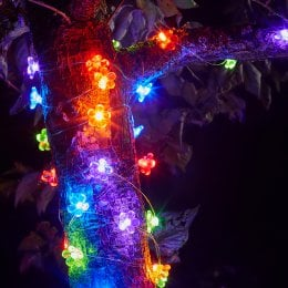 Solar Powered Flower Firefly String Lights - 30