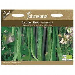 Johnsons Organic Runner Bean Seeds - White Emergo