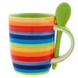 Handpainted Rainbow Mug with Spoon