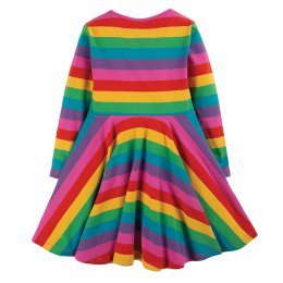 Frugi Foxglove Rainbow Stripe Sofia Skate Dress