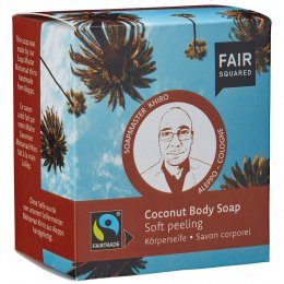 Fair Squared Coconut Body Soap with Cotton Soap Bag - Soft Peeling - 2 x 80g