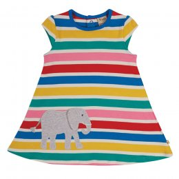 Frugi Rainbow Stipe Elephant Gianna Dress