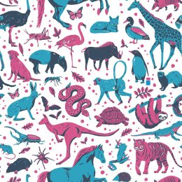 Maemara Earth Friends Fabric by the Meter - Pink