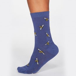 Thought Mineral Blue Rhoda Bee Bamboo Socks - UK 4-7