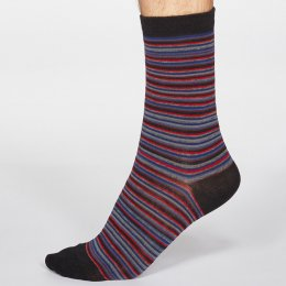 Thought Black Jacob Stripe Bamboo Socks - UK 7-11