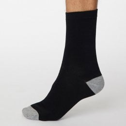 Thought Black Solid Jack Bamboo Socks - UK 7-11