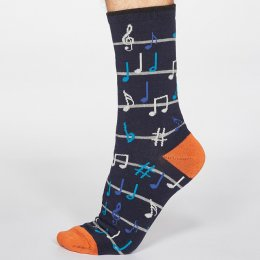 Thought Dark Navy Luis Music Bamboo Socks - UK 7-11