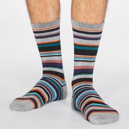 Thought Grey Marle Braxton Stripe Bamboo Socks - UK 7-11