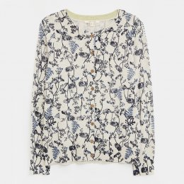 White Stuff Lola Crew Neck Patterned Cardi