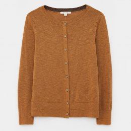 White Stuff Lola Crew Neck Cardi - Mid Brown